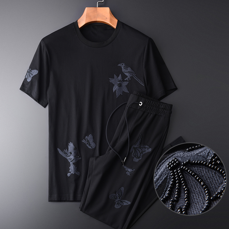 Men (t-shirt+pants) Luxury Embroidered Short Sleeve Mens Plus Size 4xl Casual Sport Summer Man Sets