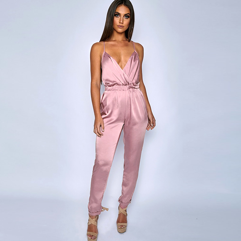 Pink Red Black Open Back Elegant Jumpsuit 1