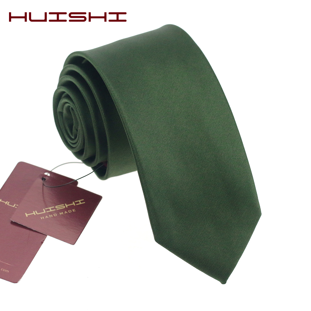 HUISHI Men's Blackish Green Color Tie 8 Cm Skinny Neck Ties Casual Gentlemen Slim Designers Fashion Formal Party Wedding