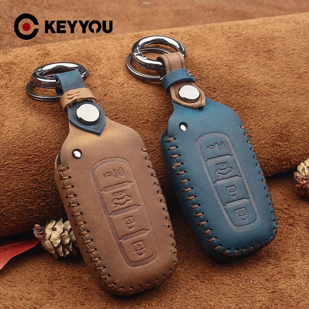 KEYYOU For Kia K2 K5 For Hyundai Genesis Equus Elantra Veloster Sonata Genuine Leather Car Key Case 4 Buttons Keychain Covers