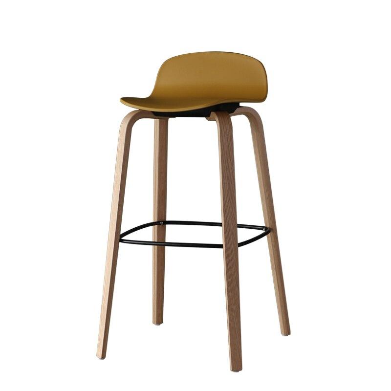 Nordic Leisure Bar Chair Simple Modern Creative Solid Wood Bar Stool Back High Footstool Household Net Red Bar Chair