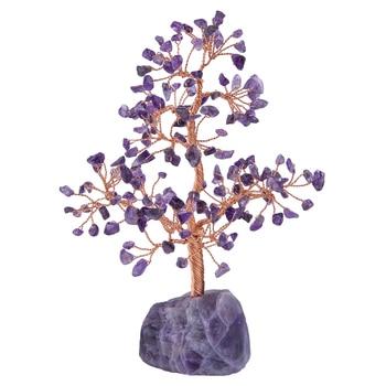 TUMBEELLUWA 7Chakra Healing Crystal Copper Money Tree,Natural Rough Stone Base Tree Feng Shui Luck Figurine Decoration