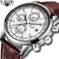 Relojes Hombre 2019 LIGE, повседневные кожаные модные серебристые кварцевые часы, мужские военные водонепроницаемые часы, мужские часы с большим цифе...