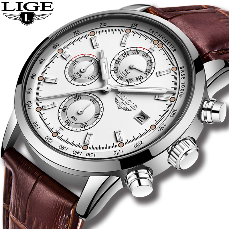 Relojes Hombre 2019 LIGE Casual Leather Fashion Silver Quartz Watch Men Military Wateproof Clock Male Big Dial Date Chronograph