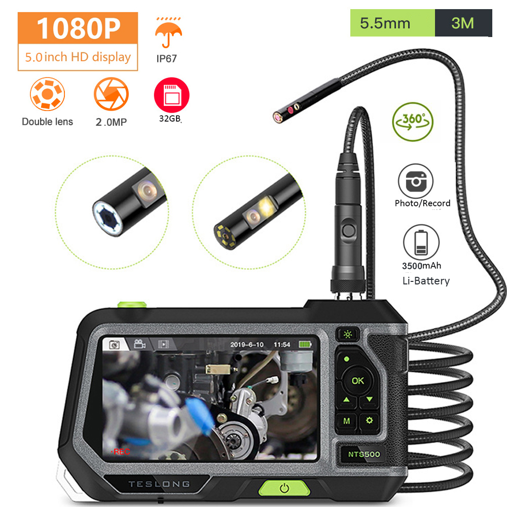 NTS500 HD 5.0 Screen  5.5mm Dual Lens Inspection Camera Video Endoscope 1080P Pipeline Borescope IP67 3M Car Monitor Tool Camera