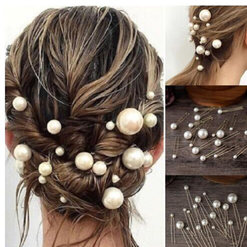 20Pcs/box Elegant Women Pearl U-shaped Pin Hairpin Bridal Tiara Hair Accessories Wedding Hairstyle Design Tools Disk Hair Pins