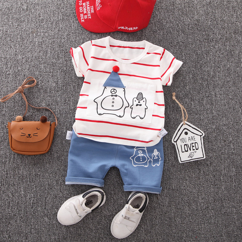 Toddler Baby Girls Boys Clothes Short Sleeve Cartoon Top + Shorts Sets Children Cotton Outfit Summer Striped Boy Girl Clothing
