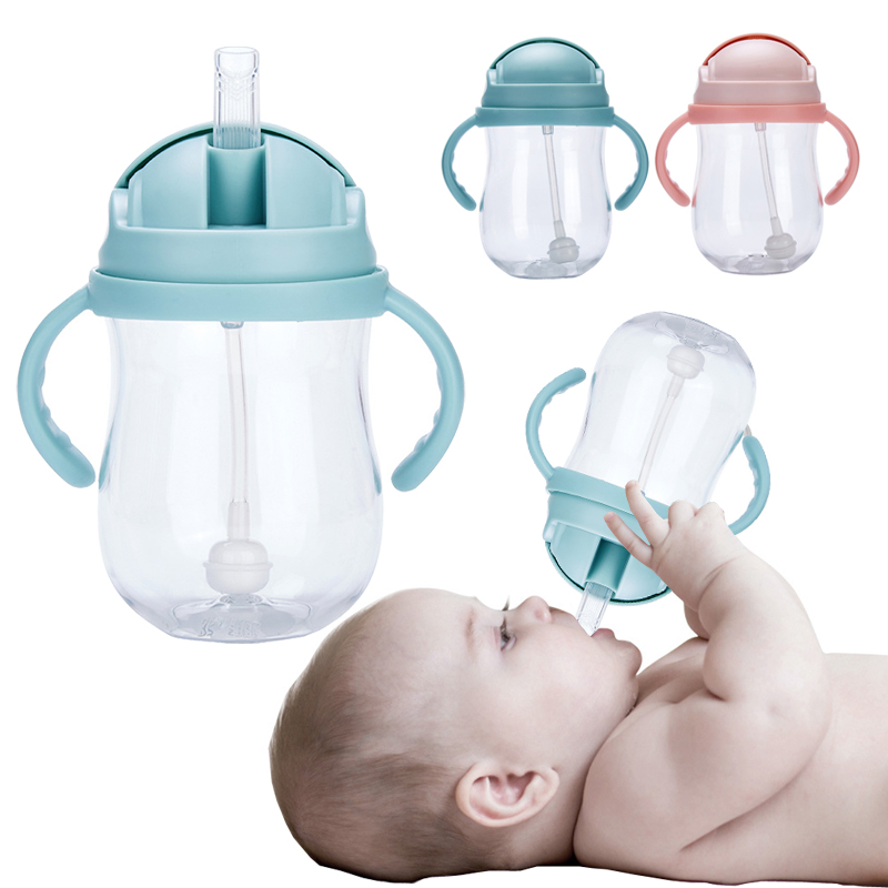 300ml Baby Feeding Water Drink Straw Water Bottle Sippy Cup With Handle Learning Drinking Cup Milk Bottles