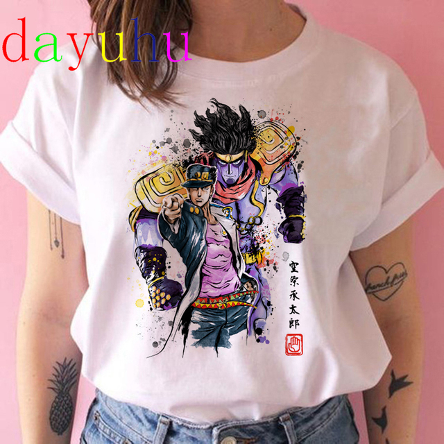 Jojo Bizarre Adventure T Shirt Women Japan Anime Summer Top T-shirt Kawaii Jojo Graphic Tshirt Plus Size Unisex Cartoon Female 4