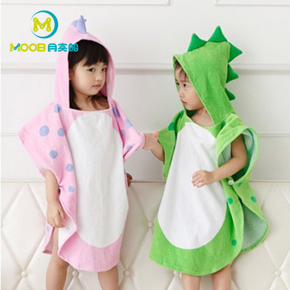 Infant Pure Cotton Hooded BABY'S Bath Towel Baby Yu Pi BABY'S Bath Towel Bathrobe Dinosaur New Style