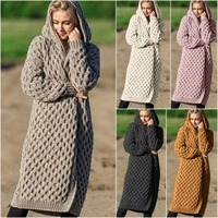 Winter Clothes Women Oversize Sweater Women 2019 Vintage Loose Hooded Thick Knitted Long Cardigan Women Coat Pink Plus Size 5XL