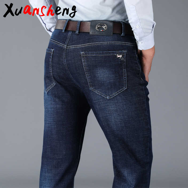 Xuan Sheng high waist jeans men 2019 new thick stretch loose brand blue black Business work classic long pants streetwear jeans