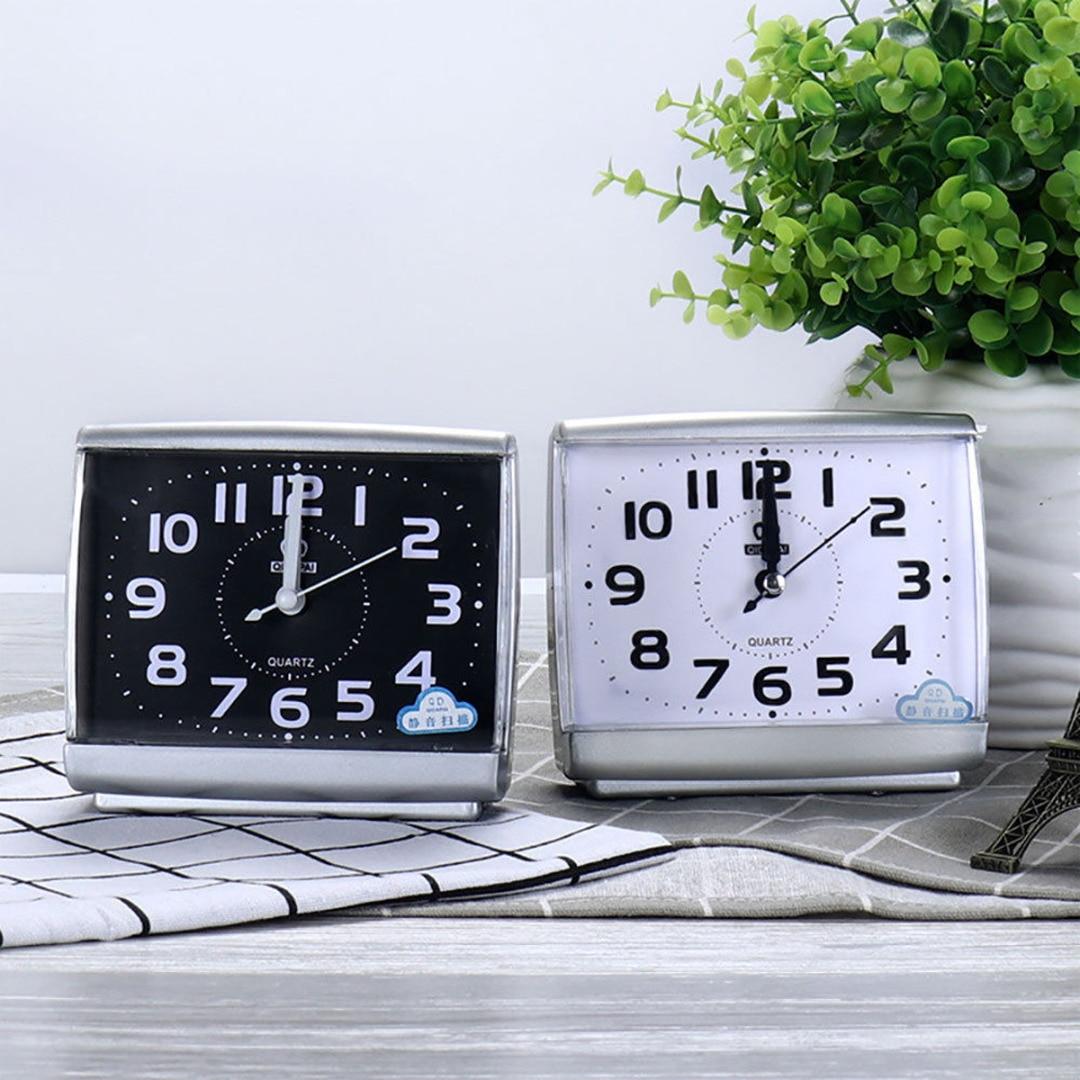 Bedside Alarm-Clock Non-Tick Square Office Plastic Mini Black/white Home Silent Easy-To-Read