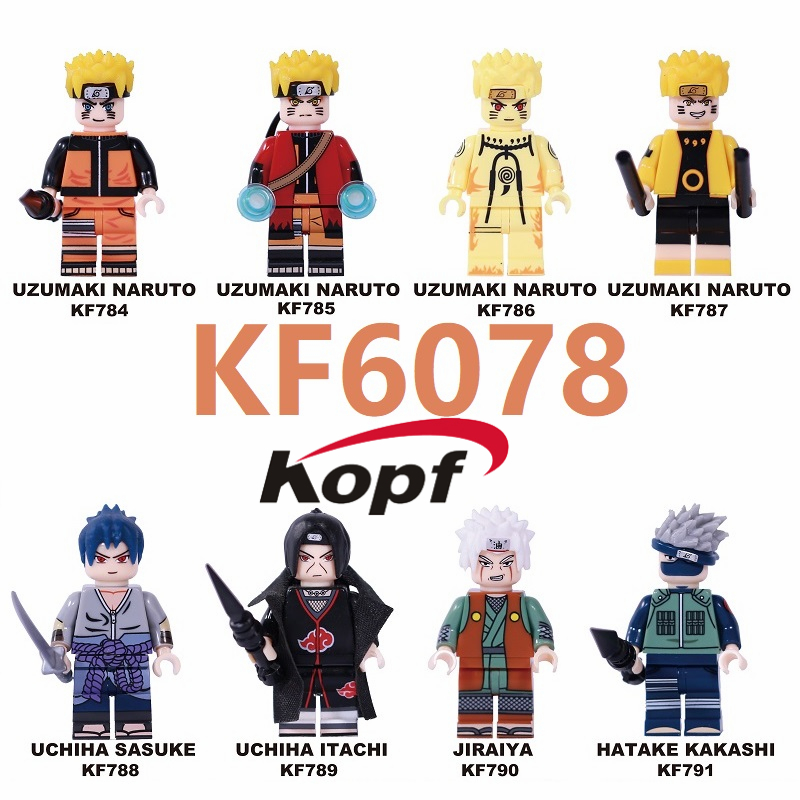 Single Sale Building Blocks Naruto Bricks Uzumaki Naruto Uchiha Sasuke Jiraika Hatake Kakashi Figures For Children Toys KF6078