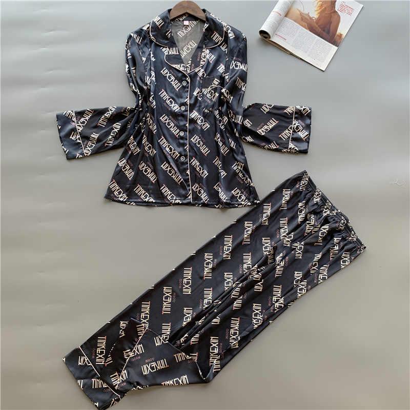 Ilkbahar sonbahar kadın ipek saten Pijama setleri rahat 2 parça Pijama uzun kollu Pijama kadın çiçek baskı Pijama gecelik