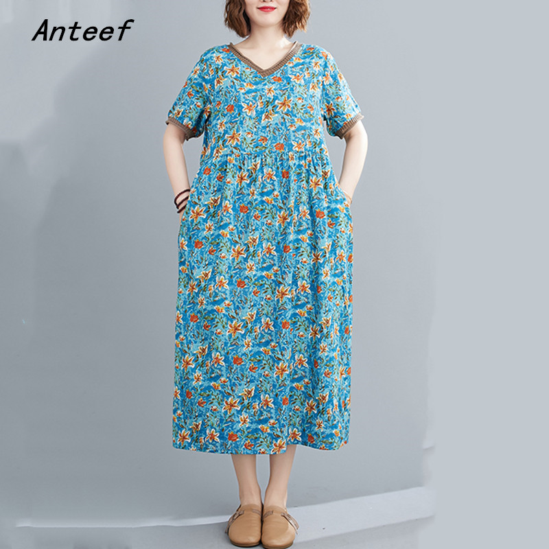 short sleeve cotton linen plus size vintage floral dresses for women casual loose long woman summer dress elegant clothes 2021