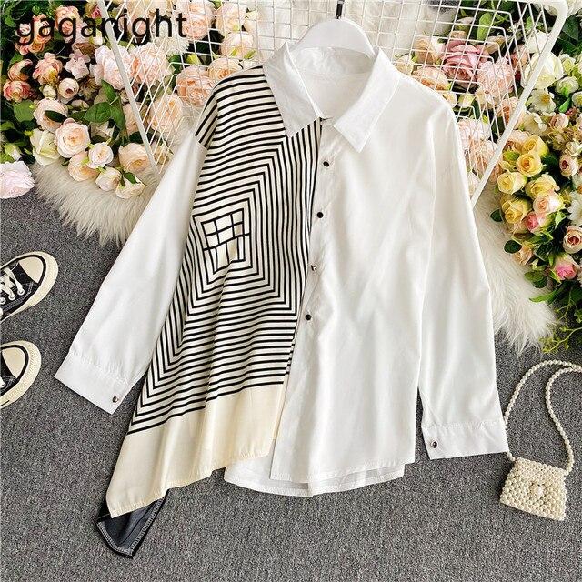 Gaganight Fashion Women Blouse Long Sleeve Irregular Elegant Office Lady Shirt Chic Casual Loose Blusas Spring Autumn New Shirts 3