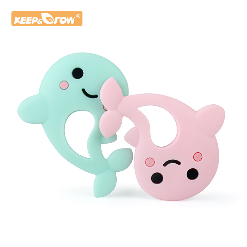 Keep&Grow 1pc Dolphin Silicone Baby Teether Rodent Baby Teething Toy Chewable Animal Shape Baby Products Nursing Gift Accessorie