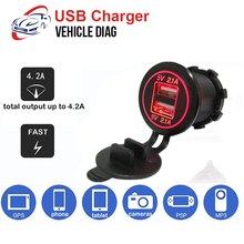 Caricabatteria da Auto 4.2A caricabatterie rapido moto Dual Auto caricatore USB presa Display a LED con tappi per camion barca adattatore di alimentazione per Auto