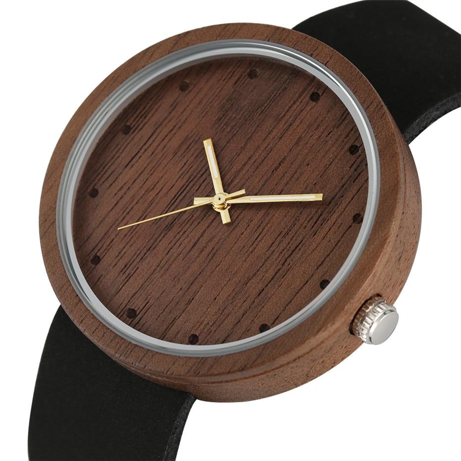 Simple Round Coffee Brown Wooden Watch Men Women Genuine Leather Wristwatch Luxury Mens Watches Female Elegant Quartz Timepiece