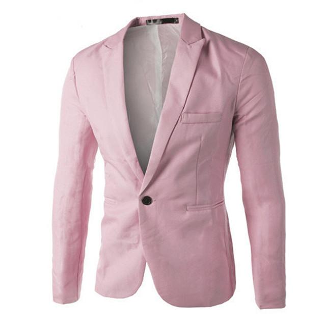 2019 Charm Men's Blazer White Black Pink Blue Casual Slim Fit One Button spring autumn Suit Blazer Coat Tops Fashion F1