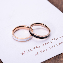 YUN RUO Black Enamel Couple Rings Rose Gold Color Fashion Titanium Steel Jewelry Birthday Gift Woman Never Fade Drop Shipping stars pattern double layer titanium steel couple rings black silver golden us size 9 7