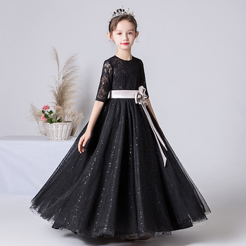 Formal Dress for Girls Black Sequins Lace Tulle Long Flower Girl Wedding Evening Kids Dresses Princess Party Gown Half Sleeves modern ballgown champagne flower girl dresses for wedding tulle birthday party dress formal party evening dress