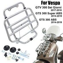 Porte-bagages avant noir en acier inoxydable, support pour Vespa GTV 300 Sei tinni GTS 300 Super ABS 2014 – 2018
