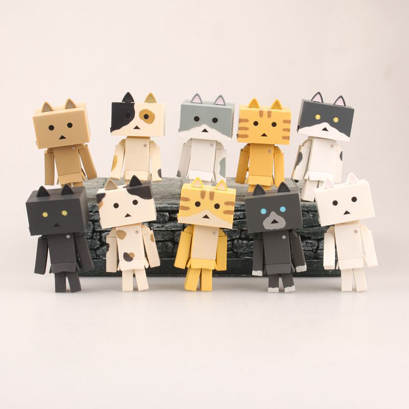 Qian Zhi Lian Cute 10-Cat Paper Box People Danboard Four-Leaf Sister Cat Danboard Capsule Toy