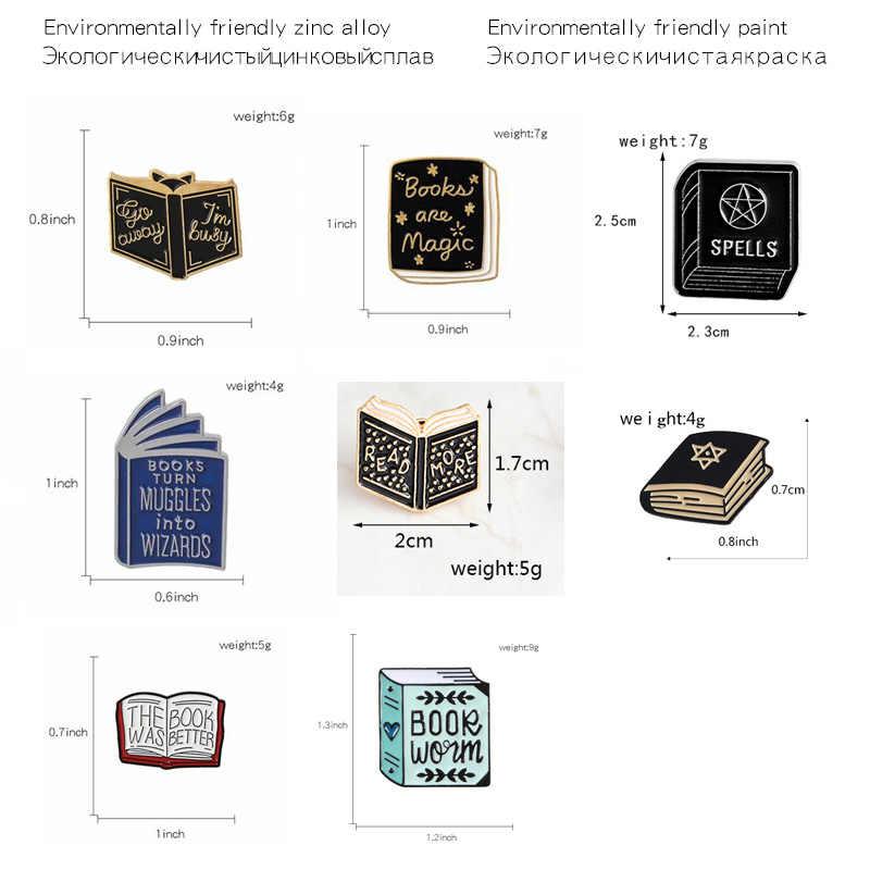 8 Gaya Pesan Pin Buku Itu Lebih Baik Lencana Bros Hitam Penyihir Sihir Kerah Kemeja Topi Tas Perhiasan Punk Fashion enamel