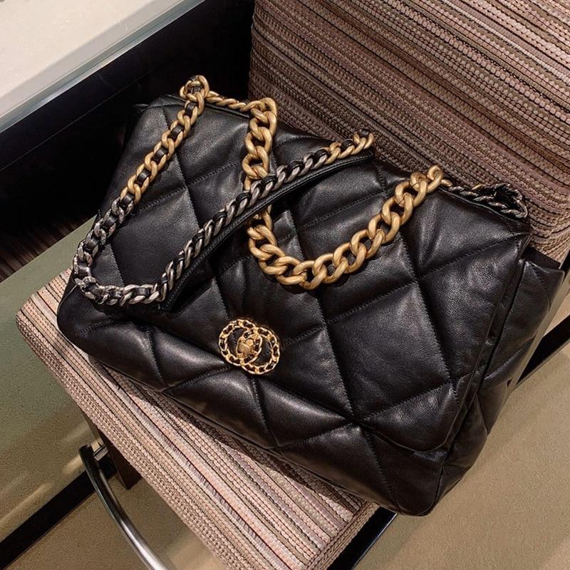 Women's large grille leather handbag, soft sheepskin shoulder bag, 2021