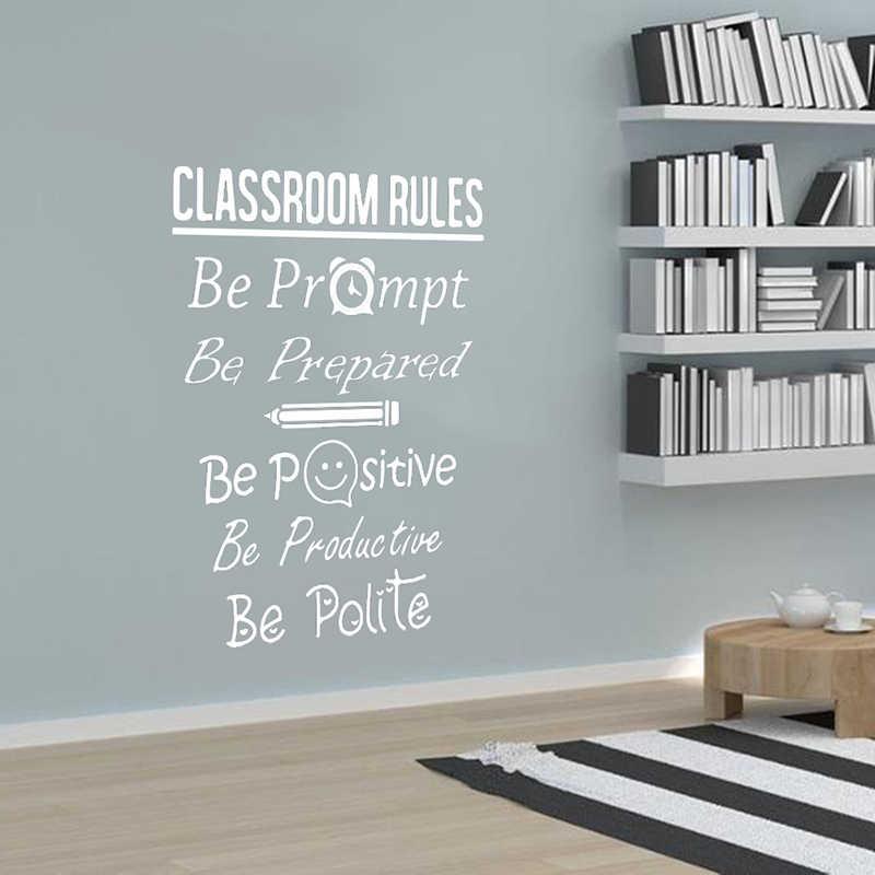 Vinyl Art wymienny plakat Mural duży klasie zasady cytat naklejki ścienne biblioteki w klasie inspirujące cytat wystrój XL111