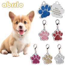Personalized Dog Tags For Dogs Free Engraved Puppy Cat ID Name Collar Tag Glitter Paw Shape Pets Pendant DIY Dog Accessories(China)