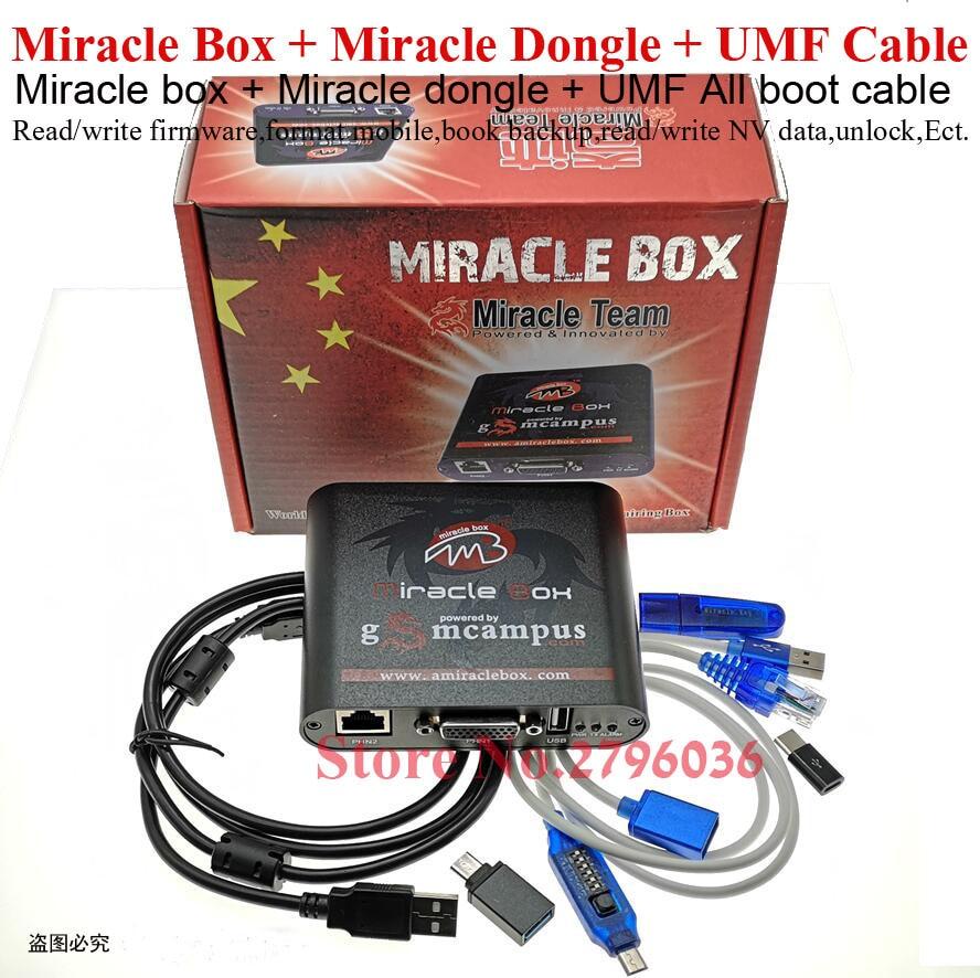 2020 original Miracle Box + Miracle Key Dongle + UMF All Boot cable for china mobile phones Unlock Repairing unlock(China)