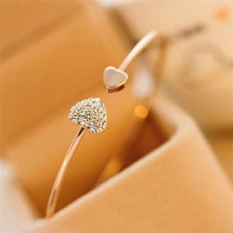 1 pc cristal abertura pulseira para mulher pulseira feminina presente feminino na moda jóias duplo pêssego coração amor