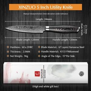 """Image 2 - XINZUO couteau utilitaire 5 """"pouces, couteaux de cuisine 67 couches, couteau de cuisine japonais en acier, damas très tranchant avec manche en Pakkawood"""
