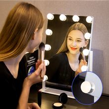 LED espejo de maquillaje bombillas espejo de baño USB regulable tocador cosmético espejo Luz