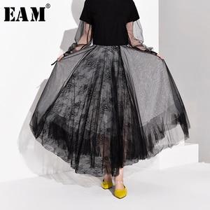 Image 1 - [EAM] High Waist Black Multilayer Mesh Split Joint Temperament Half body Skirt Women Fashion Tide New Spring Autumn 2020 JT1360