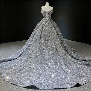 Image 5 - אפור כסף נצנצים שמלות כלה 2020 דובאי Sleeveess סקסית יוקרה כלה שמלות Serene היל HM66742 תפור לפי מידה