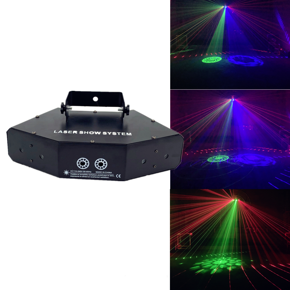 6 Lens DMX Red Green Blue RGB Beam Rgb 16 Patterns Laser Scanner Light Home Party DJ Stage Lighting KTV Show Sector Laser Light