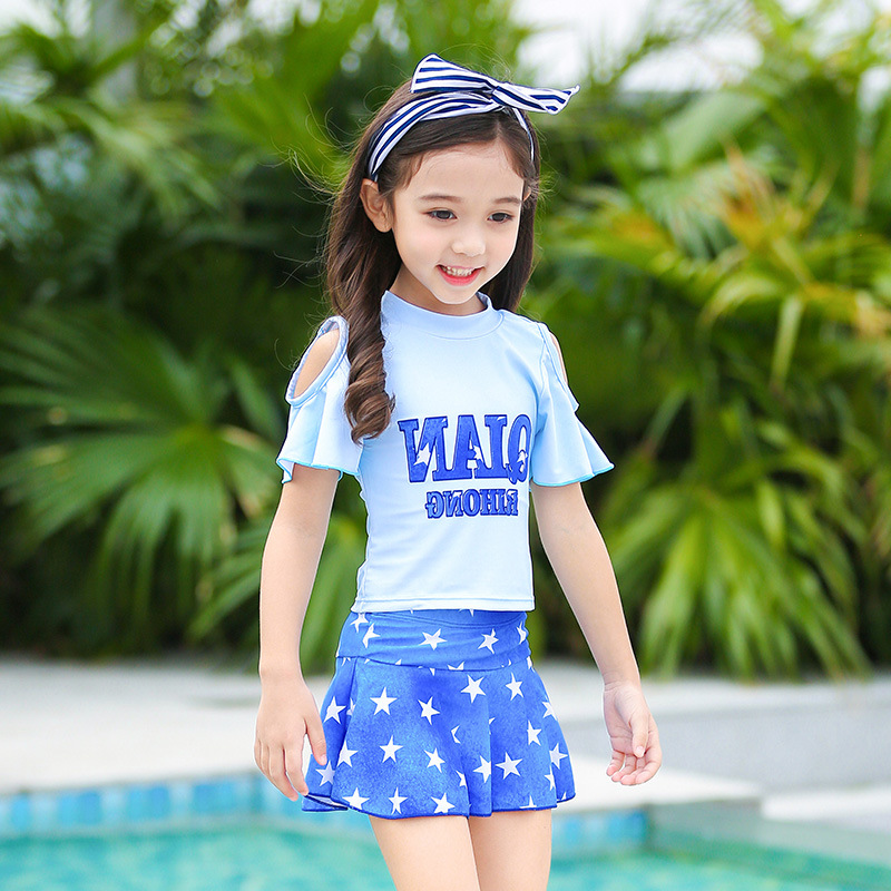 Bathing Suit Women's Children Split Skirt-Child Princess Baby Big Boy South Korea Swimwear Students Cute Tour Bathing Suit