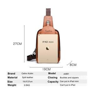 Image 2 - Celinv Koilm мужская сумка через плечо, большой размер, Повседневная нагрудная сумка, высокое качество, большая емкость, спилок, кожаные рюкзаки, слинг сумка для iPad