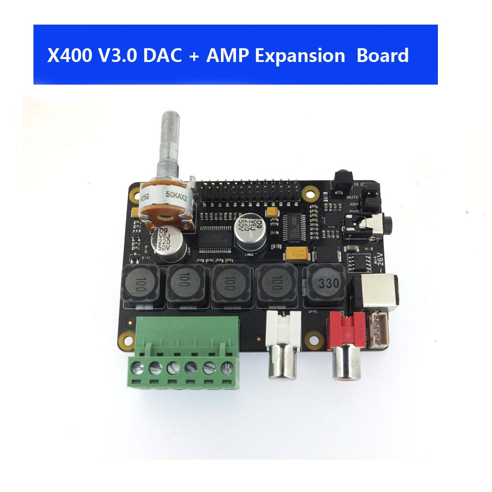 Raspberry Pi DAC Full-HD Class-D Amplifier I2S PCM5122 X400 Audio Expansion Board Raspberry Pi 3 Model B+ Music Player