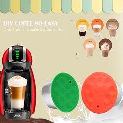 ICafilas wielokrotnego użytku silikonowa zielona powłoka wielokrotnego napełniania Dolce Gusto filtry do kawy kapsułki i kapsułki mleka DIY łatwa kawa w Filtry do kawy od Dom i ogród na
