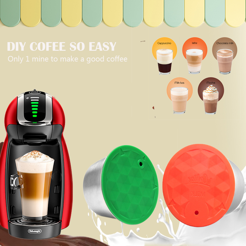 ICafilas Reusable Silicone Green Cover Refillable For Dolce Gusto Coffee Filters Pods And Milk Capsule DIY EASY Coffee