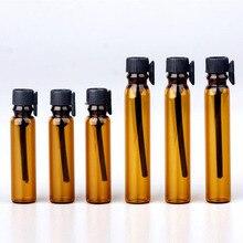 1000pcs/lot 1ML 2ML 3ML Amber Glass Bottle Perfume Empty Bottles Sample Glass Vials Small Promotion Oil Bottle