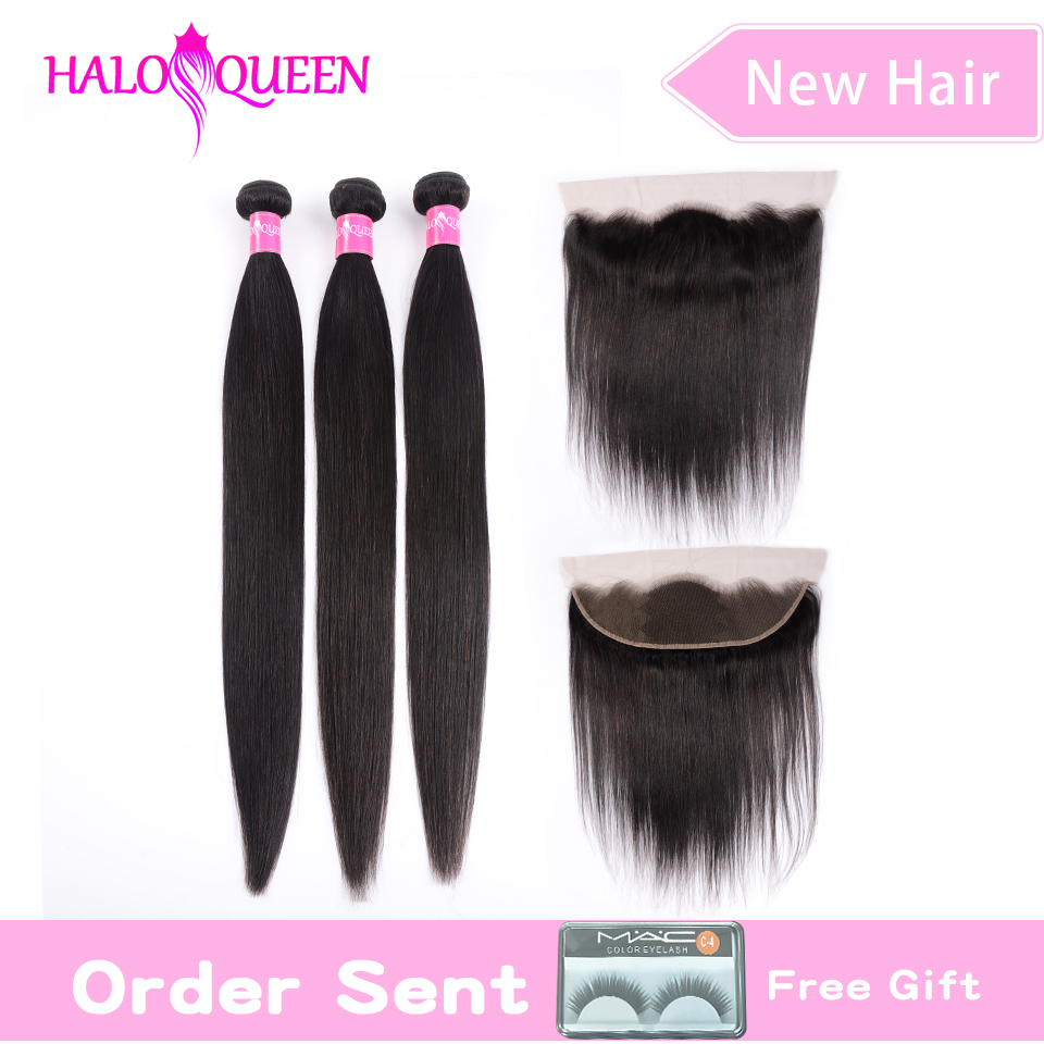 HALOQUEEN 3 Bundles With 13*4  Frontal Ear To Ear Brazilian Straight Bundles With Frontal Natural Color Bundles With Closure