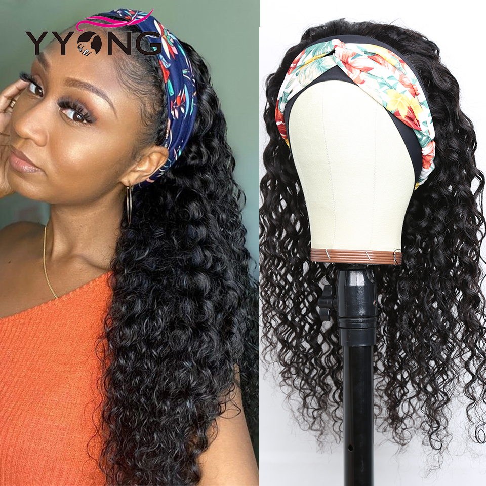 YYong Indian Deep Wave Headband Wig With Scarf Natural  Wigs Glueless Wig for Women Can Be Colord 8-24in Fast Ship 1
