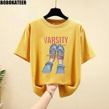 Camisa de manga curta t roupas femininas coreano amarelo impresso vintage verão topos mulher camisetas plus size solto branco t 4xl 2021