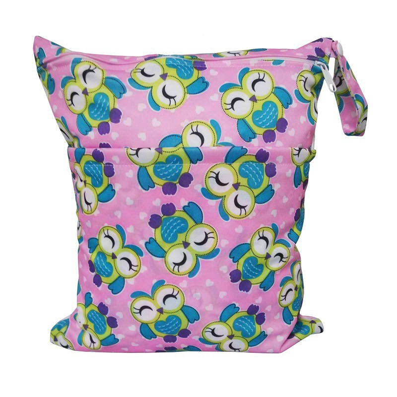 Paradise Double Zipper Printed Snap Closure-Diaper Bag Storage Bag-Small Bee Pattern